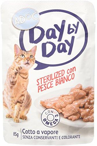 Adoc Day By Day - Alimento Completo per Gatti Sterilizzati con Pesce Bianco, 24 bustine da 85gr