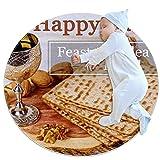 Alfombra suave redonda 100x100cm/39.4x39.4IN Alfombrillas circulares antideslizantes para el suelo Alfombrilla para pie de esponja absorbente,feliz fiesta de pascua de panes sin levadura