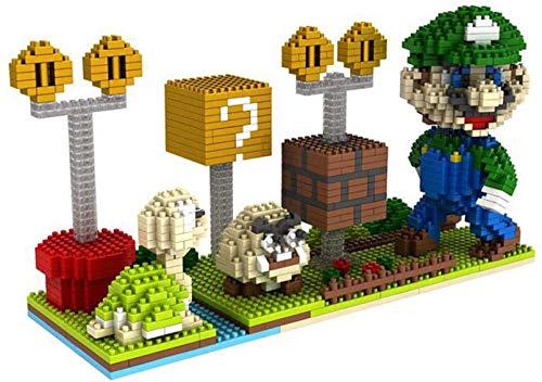 BBHH Super Mario Cartoon-Spiel Für Kinder Kunststoff Bausteine Action-Figuren Bildungsgeschenk,Grün