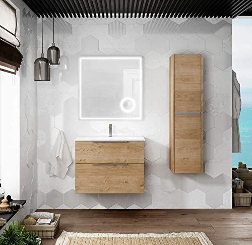 Mueble de Baño Suspendido con Lavabo Cerámico Galsaky | 2 cajones con Cierre Amortiguado y Organizador| Guías Hettich Medidas (80 cm, Roble Natural)