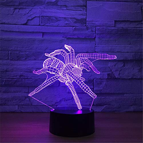LBJZD luz de noche Modelo De Araña Lámpara Led 3D Interruptor Táctil Remoto 7 Cambio De Color Luz Para Dormir Mesa Luminosa Led Luz Nocturna 3D Para Regalo De Juguete Para Niños Sin Mando A Distancia