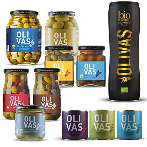 OLIVAS Oliven-Set groß # Eine kulinarische Reise durch die Olivenwelt Spaniens # Mit Bio-Olivenöl nativ extra