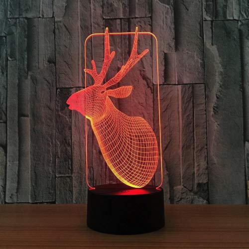 3D hertenkop-nachtlampje, 7 kleuren, automatisch veranderbaar, aanrakbaar, schakelbaar, bureaudecoratie, licht, verjaardagscadeau met acryl tablet, ABS-basis en USB-kabel