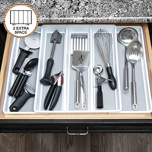 Expandable Utensil Tray Drawer Organizer By Eltow- 5-Compartment Kitchen Utensil Holder- Large Plastic In-Drawer Utensil Organizer– Multipurpose Adjustable Organizer Tray For Kitchen