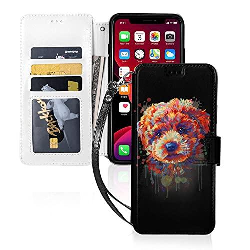 Estuche para teléfono LINGF,Encantador y Colorido Estuche de caniche para iPhone 11 Pro MAX Estuche Lindo para Mujeres,Hombres,Billetera,Estuche de Cuero con Correa,Estuche Protector