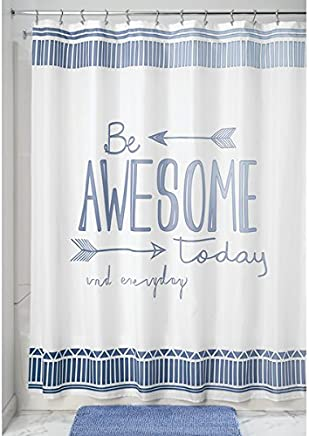 mDesign Decorative Be Awesome Quote - Easy Care Fabric Shower Curtain with Reinforced Buttonholes,  for Bathroom Showers,  Stalls and Bathtubs,  Machine Washable - 72 x 72 - Blue/White
