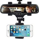 Supporto per telefono da auto, supporto per specchietto retrovisore per auto con rotazione a 360° e clip regolabili per smartphone,Nero