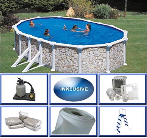 Stahlwandbecken Set Grandy Steinoptik oval 3,00m x 5,00m x 1,20m Folie 0,4mm Super Komplettset Pool Ovalpool / 300 x 500 x 120 cm Stahlwandpool