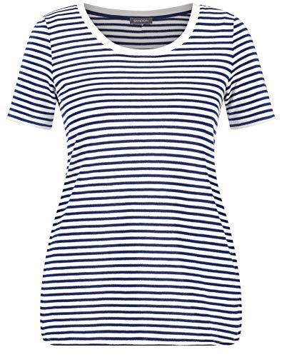 Samoon Damen Shirt Mit Ringel-Dessin Leger Space Blue/Offwhite Ringel 54