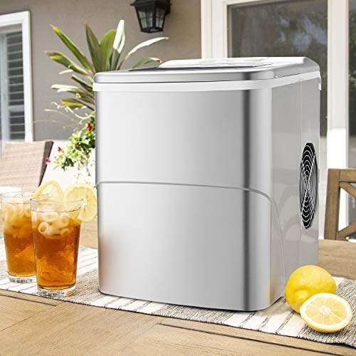 Antartic Star Countertop Portable Ice Maker Machine, 9 Ice Cubes Ready in 8 Minutes,Makes 26 lbs of Ice per 24 hours,with LCD Display, Ice Scoop and Basket Perfect for Parties Mixed Drinks(Silver)