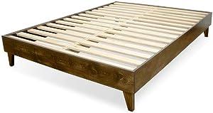 eLuxurySupply Wood Bed Frame - 100% New Zealand Pine - Solid Mattress Platform Foundation w/Pressed Pine Slats - Easy Assembly - Full