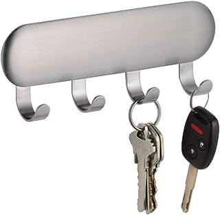 iDesign Ganchos adhesivos de pared, colgador adhesivo pequeño de acero, llavero de pared con 4 ganchos para llaves, bufandas, paños y otros accesorios, plateado mate