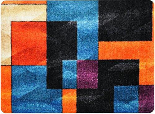 Paillasson design pour porte d'entrée, couloir, intérieur et extérieur | Paillassons antidérapants et lavables | Pratique tapis anti-salissures – Paillasson | Essuie-pieds – NOIR BLEU ORANGE 50 x 70 cm