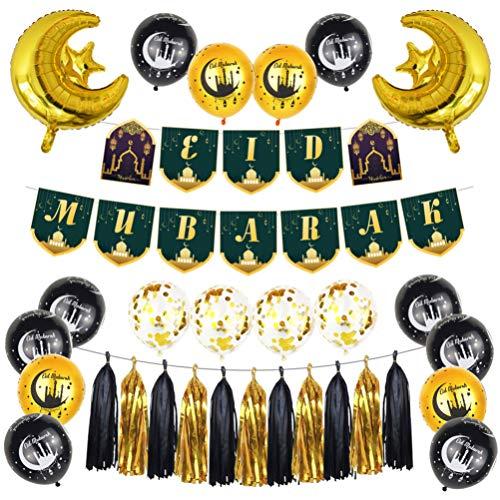 PRETYZOOM Eid Mubarak Decoración de fiesta Ramadan Banderines de Confeti Globos Gland, Banderola para Eid Mubarak Ramadan Suministros (oro junto)