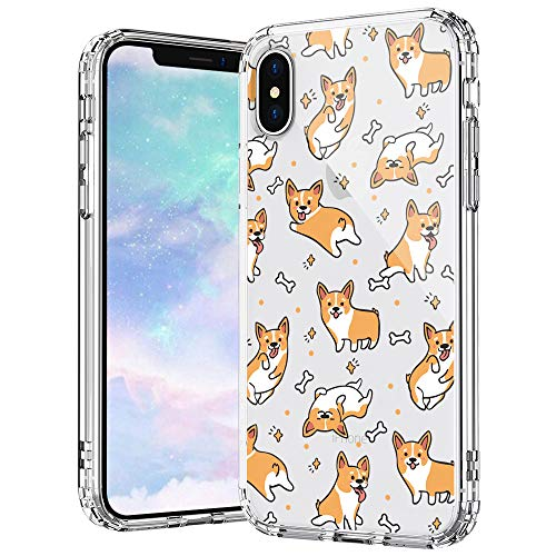 for iPhone X Case, MOSNOVO Cute Corgi Dog Crystal Clear Cases Design Shock Absorption Bumper Soft TPU Women Girl Men Cover Case for iPhone Xs