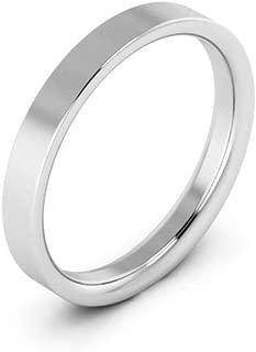 14K White Gold men's and women's plain wedding bands 3mm flat comfort-fit
