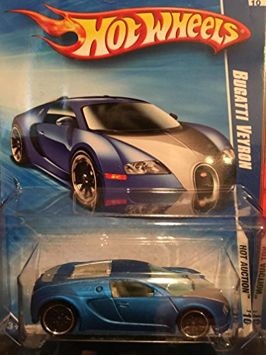 Hot Wheels 2010-160 Blue Bugatti Veyron Hot Auction 1:64 Scale by Hot Wheels