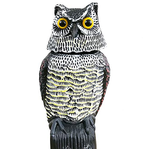 Owl Bird Repellent, SUNJULY Wind Action Owl Garden Decoration Hunting Bait Owl mouse Repeller Scarecrow With 360 Rotating Head