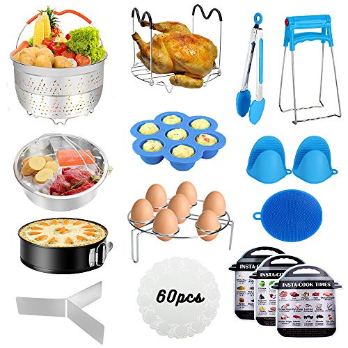 Accessories for Instant Pot,Accessories Compatible with 5/6/8Qt Instant Pot - 60 Pcs Cake Baking Papers,2 Steamer Baskets,Non-stick Springform Pan,Egg Rack,Egg Bites Mold,Kitchen Tong,Dish Plate Clip