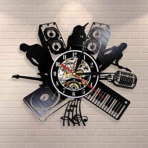 BFMBCHDJ Vinyl Musikplatte Wanduhr Mikrofon DJ Musik Band Melodie Sänger Rock Band Jazz Band Musikinstrumente Vintage Clock Watch