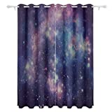 Abstract Starry Galaxy Universe Decorative Hanging 2 Panel Set Printed Blackout Window Curtains