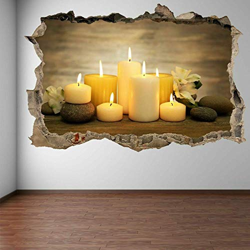 3D Wall Stickers Decals Stones Candles Board Wall Art Stickers for Home Door Stair Windows Wall Car Décor 15.7x23.6inch(40x60cm)