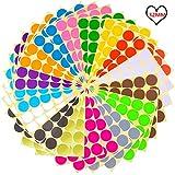 Runde Punkt-Aufkleber,32mm Selbstklebende farbige Punkte 384 Kleine runde Aufkleber 16 Farben für Büro, Schule, Kalender, Karten-Aufkleber