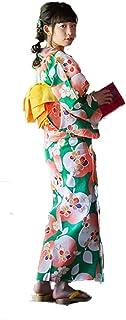 [ KIMONOMACHI ] オリジナル 女性浴衣3点セット 「緑色リンゴ」 浴衣+帯+下駄フリーサイズ