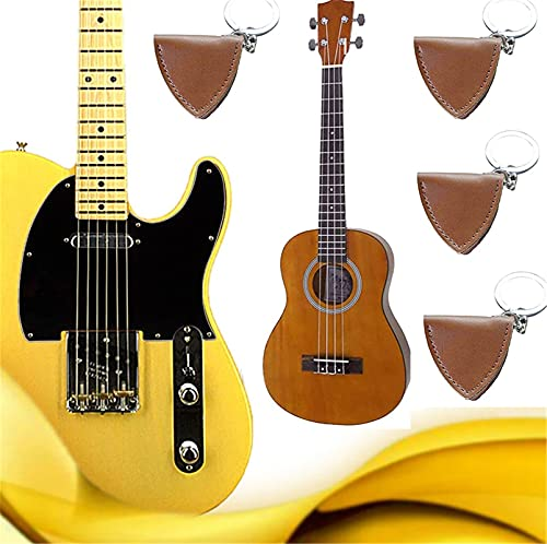 Leather Guitar Pick Holster, Guitar Pick Keychain Holder, Leather Guitar Pick Bag, Guitar Pick Protective Cover-Anti-falling & Easy to Carry (4PCS)