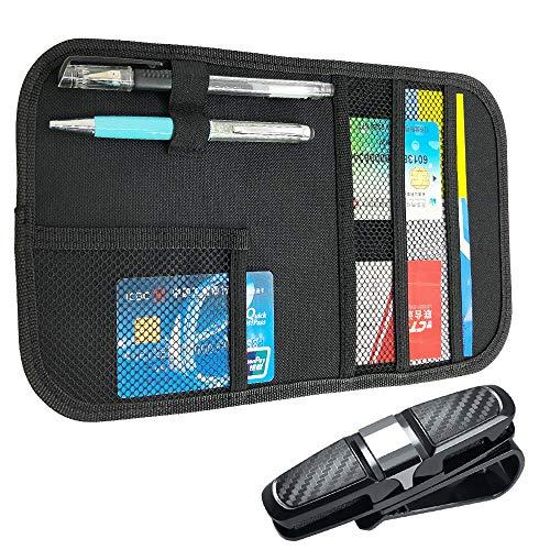 FineGood Organizador de visera de coche y soporte para gafas, para interior de coche, tarjeta de CD, soporte de bolsillo de almacenamiento, accesorio - negro