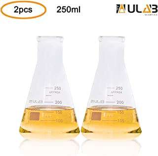 ULAB Scientific Narrow-Mouth Glass Erlenmeyer Flasks, 8.5oz 250ml, 3.3 Borosilicate with Printed Graduation, Pack of 2, UEF1023