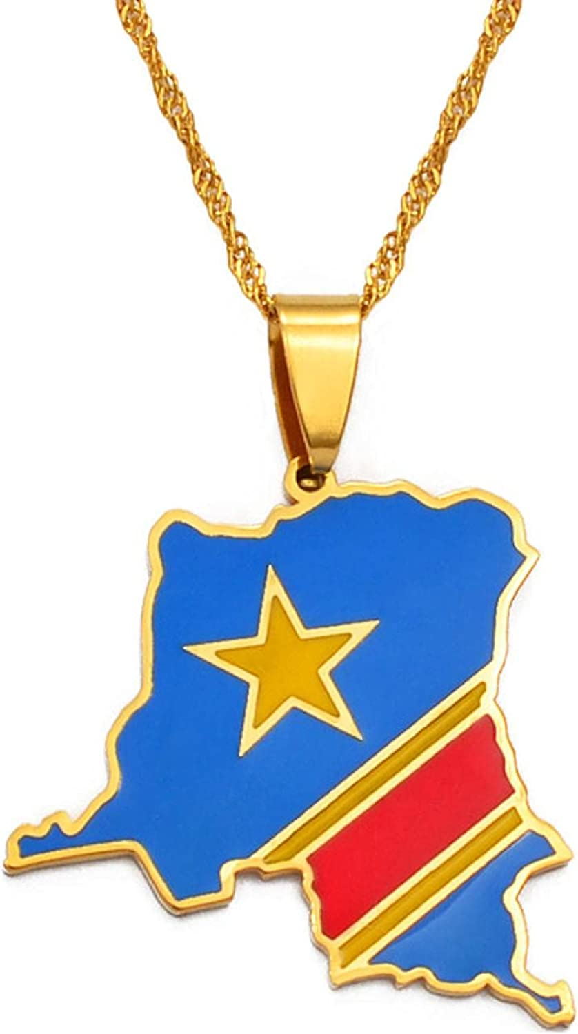 Democratic Republic Of The Congo Cheap super special price Map Gold Flag D Pendant Colored Sales of SALE items from new works