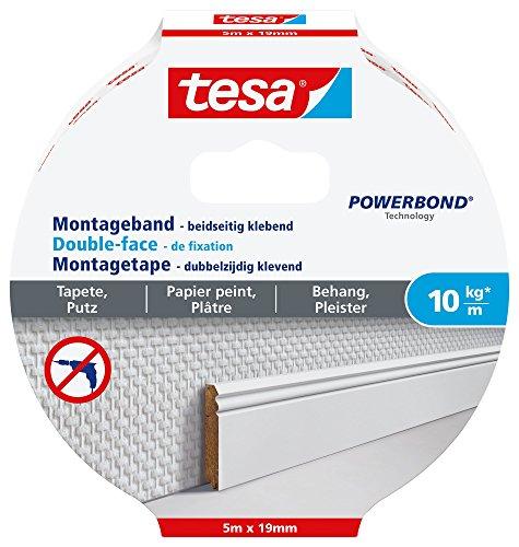tesa Montageband für Tapeten und Putz, 5m x 19mm