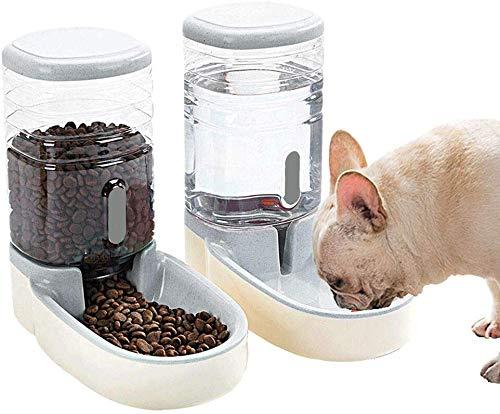 3.8L大容量自動水飲み器 自動給餌器 餌皿 フードディスペンサー ペットボトル 水 餌入りセット 猫犬用 中・大型犬 多頭伺いの方 HSZH-152 (グレー)
