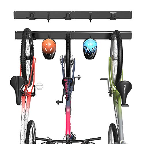 TORACK Bike Wall Rack, 3 Bikes 2 Helmets Indoor Cycling Hooks for Space-Saving, Holds Up to 300lbs Adjustable Bicycle Wall Mount Storage Rack for Mountain& Road Bikes