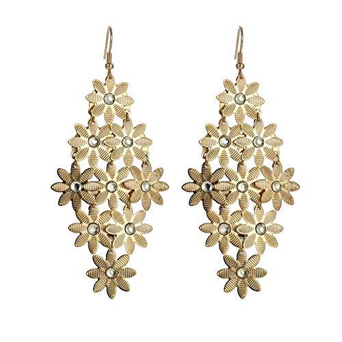 Xiaojie Hermoso temperamento hueco de oro aleación de plata eléctrica chapado en agua larga gotas de flores pendientes de oreja, oro