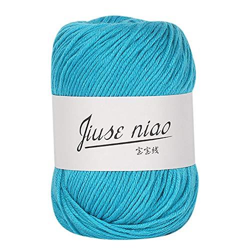 LCLrute 50g weiche Babywolle, Baumwollmischgarn zum Stricken & Häkeln Handstricken Baby Milch Baumwolle häkeln Strickwolle (M)