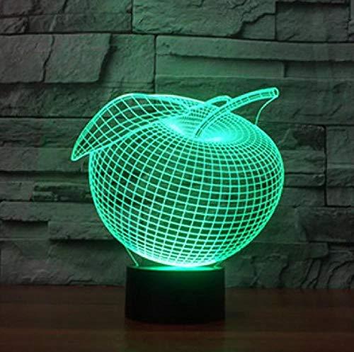 Apple Led 3D Night Light Touch Switch Eve Lámpara De Mesa Para Dormitorio Regalo De Vacaciones 7 Cambio De Color 3D Nightlight