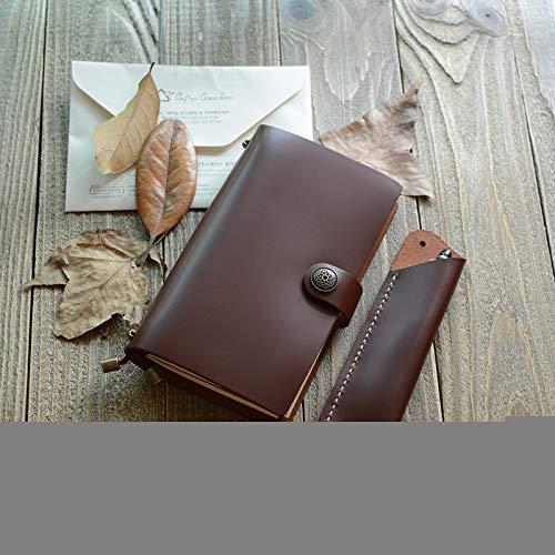 DLYGH Blocs de Notas Bloc de Notas Papel de la Oficina del Cuaderno Botones Piel Manual Aceite de Palma Rojo portátil (Color : Black Oil Skin, Size : -)