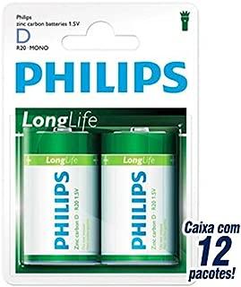 2x 1.5v R20 Philips Zinc chloride Long life Battery R20L2B/97