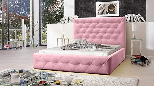 MG Home Möbel Bett Polsterbett Schlafzimmer Doppelbett Roma Pink Rosa (Amore Pastellrose Pink, 140 x 200 cm)