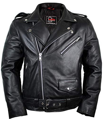 Lederjacke Rockerjacke Rocker Punk Motorradjacke Western Highway Rockabilly (4XL)