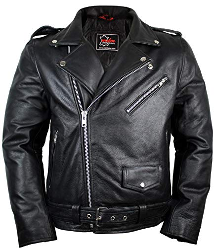 Lederjacke Rockerjacke Rocker Punk Motorradjacke Western Highway Rockabilly (2XL)