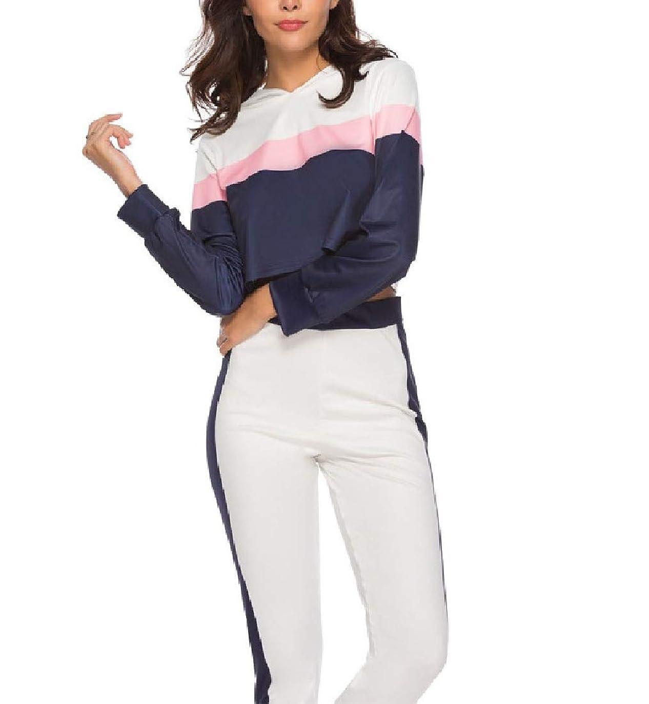 グリルデータベースポップ女性フード付き2つの部分ストレッチスポーツジャンプスーツ服