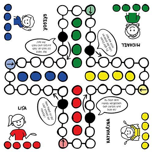 Spielbrett mit Personalisierung: Spiel selbst gestalten mit Namen, Gesellschaftsspiel, ärgert euch Nicht - Kinderspiele, Klassiker für die ganze Familie