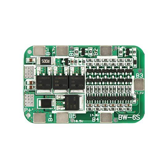 Akozon Placa de protección de batería de litio 6S 15A 22V 24V Placa de protección de batería PCB BMS para 18650 Li-ion para Herramienta eléctrica Energia solar Iluminación
