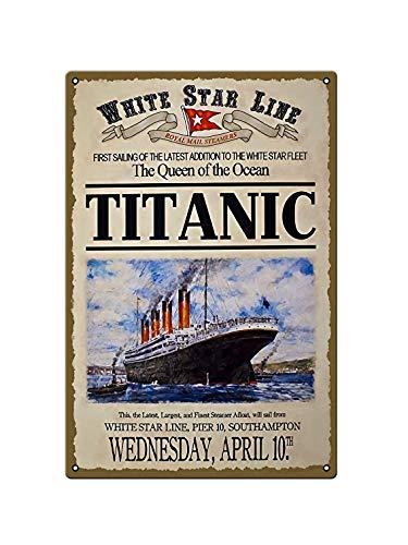 Titanic Ship White Star Line Poster publicitario Movie-Bar Placa Diseño Retro Placa de Metal Decorativo de Pared Beer Club Dimensiones 20 x 30 cm (8 x 12 pulgadas)
