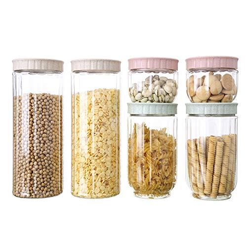 ZHHAOXINST Küche Stapelbare Vorratsdose Set 6 Stück, Frischhaltedosen in Allen Größen mit Deckel Lagerbehälter für Getreide Nüsse Trockenvorräte, BPA Frei BPA Frei, Transparent