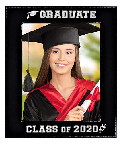 GIFT FOR GRADUATE - CLASS OF 2020 PICTURE FRAME – An Elegant Black Leatherette Frame Engraves in a Beautiful Silver - Special Display for a Treasured Graduation Portrait Glass Photo Frame (8x10-2020)