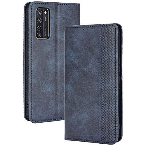 ALAMO Retro Klapp Hülle für ZTE Axon 20, Premium PU Leder Handyhülle mit Kartenfächer & Geldbeutel - Blau